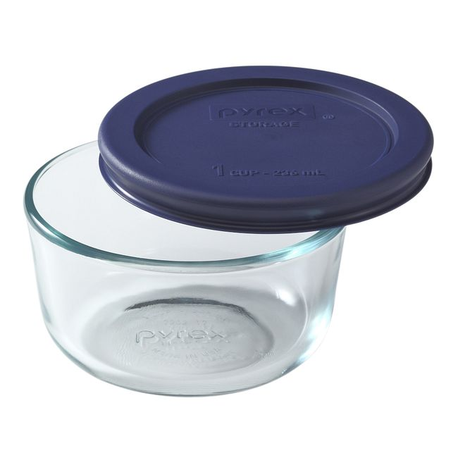 1-cup Glass Food Storage Container with Blue Lid