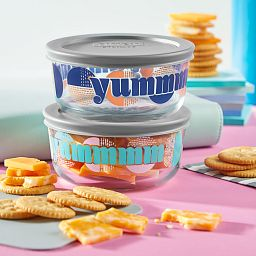 Yumm 4-piece Glass Food Storage Container Set with cheese and crackers
