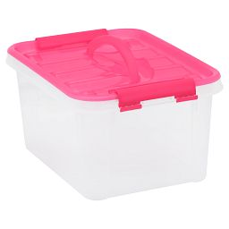 "Smart Store® 12"" x 6"" Home Storage Container with Pink Handles"