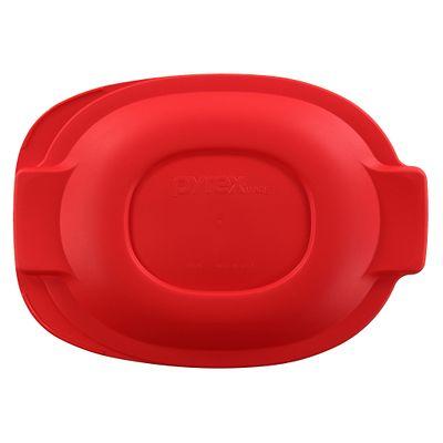 Pyrex 2.5-Qt Oval Roaster Plastic Lid, Red