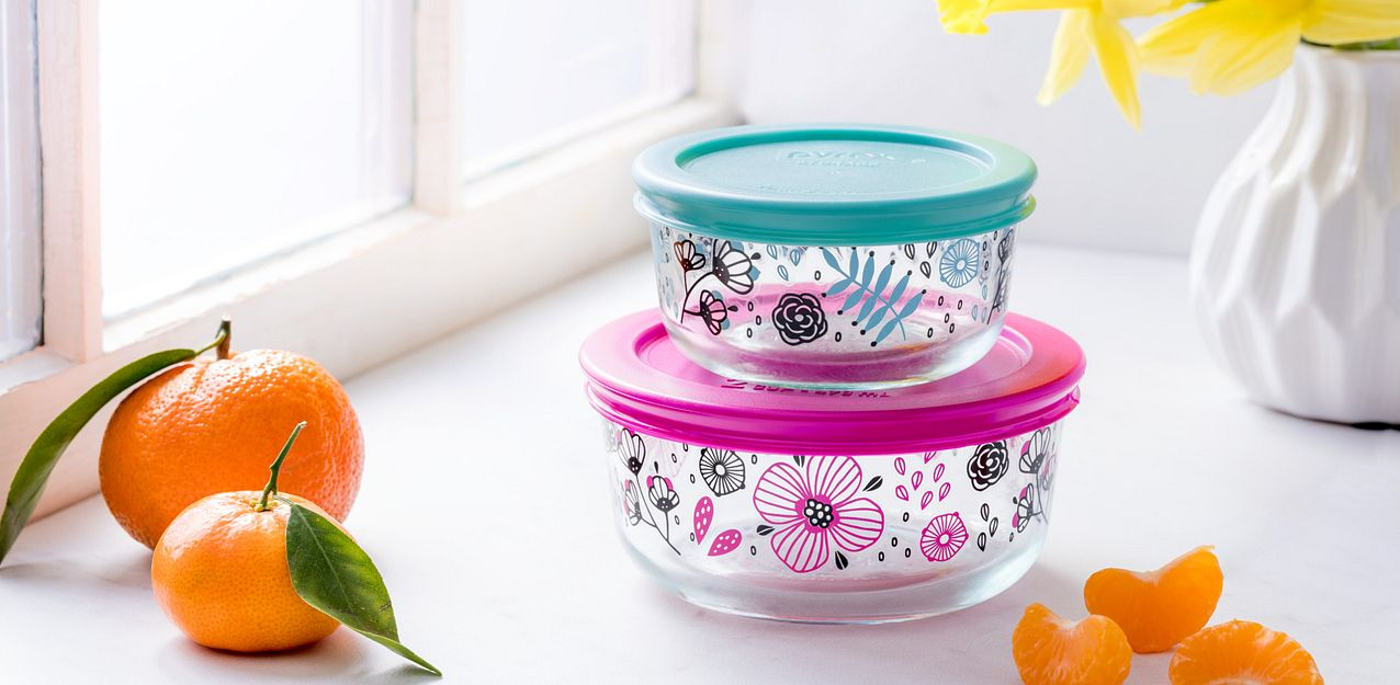 Ansa pattern Pyrex Decorated Storage featuring pink and turquoise flower pattern