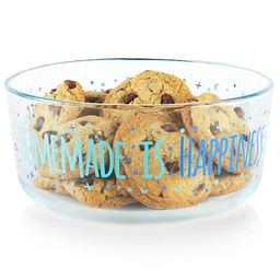 Happiness 7-cup Glass Food Storage Container with cookies inside