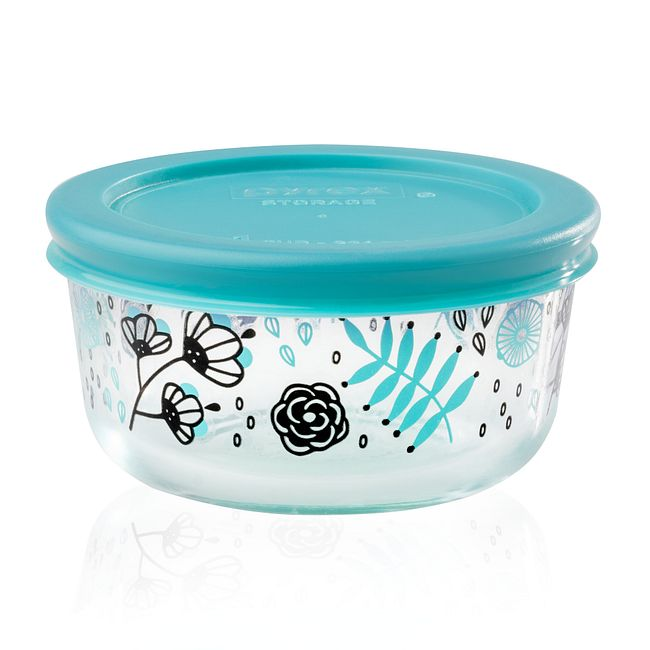 Ansa 1-cup Glass Food Storage Container with Turquoise Lid