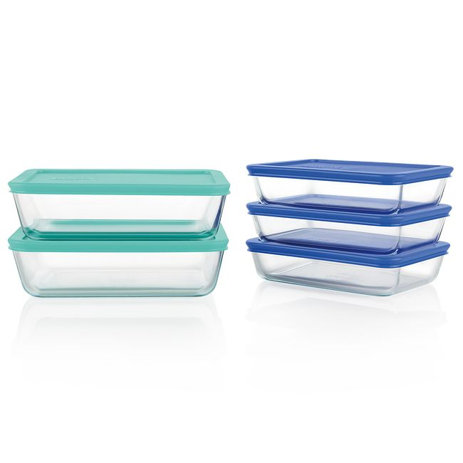 Simply Store 10-piece Meal Prep Glass Food Storage Set with Colored Lids