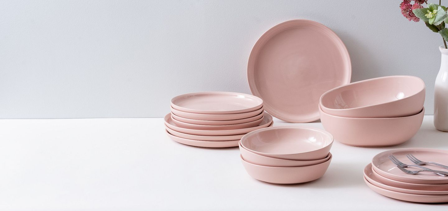 CW Dinnerware by Corningware shown in a light pink color called blush