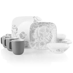Night Blooms Gray 16-piece Dinnerware Set, Service for 4