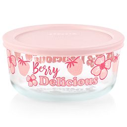 Berry Delicious 4-cup Glass Food Storage Container with Pink Lid