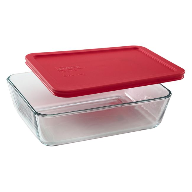 6 Cup Rectangular Glass Food Storage Container With Red Lid Pyrex
