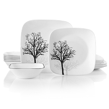 prairie garden pattern on round dinnerware featuring gray floral pattern