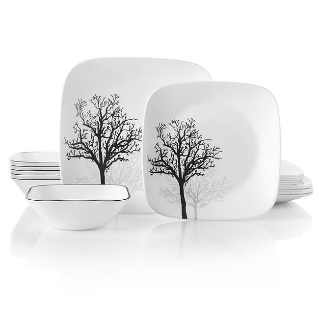 Square Timber Shadows 18-piece Dinnerware Set, Service for 6