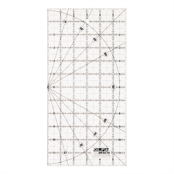 6″x12″ Square Frosted Acrylic Ruler (QR-6X12)