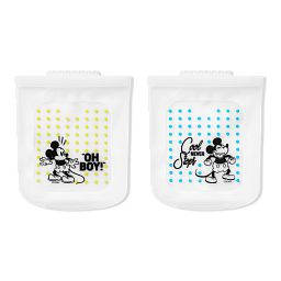 Half-Gallon (2-qt) Silicone Storage Bag 2-pack: Disney Mickey (one says 'oh boy' the other says 'cool never stops'