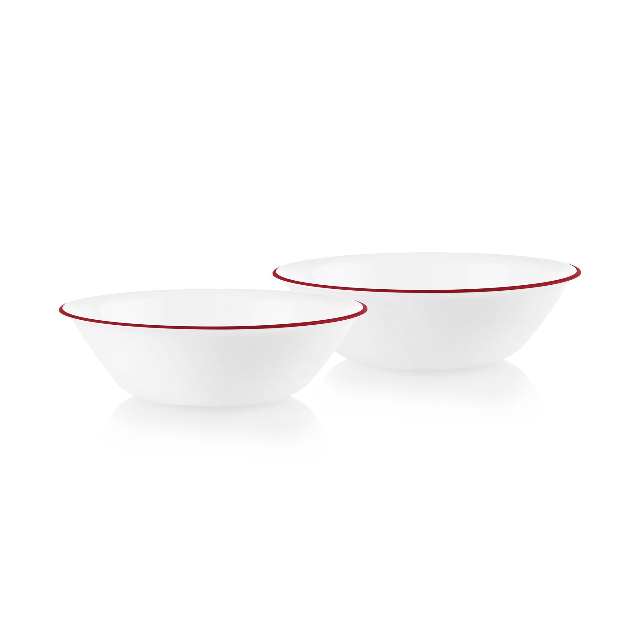 Radiant Red Banded 1-quart Serving Bowls, 2-pack