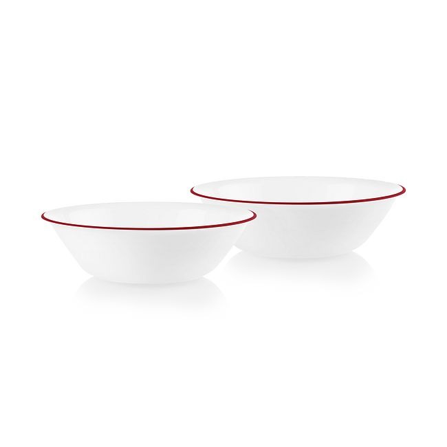 Radiant Red Banded 1-quart Serving Bowls, 2-pack