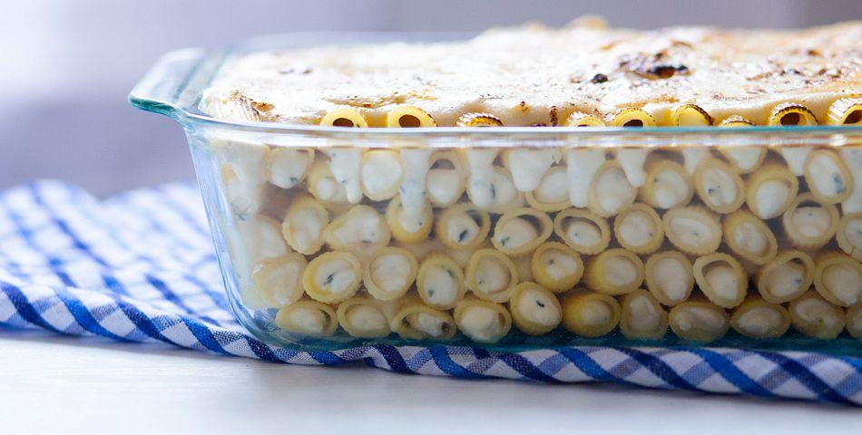 photograph of Rigatoni Bake in pyrex deep dish