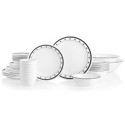 Black Beads 50-piece Dinnerware Set, Service for 8