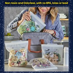 Star Wars™ 4-piece Silicone Bag Set being used to pack snacks in a to-go bag