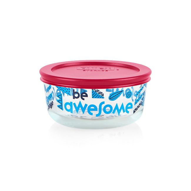 Be Awesome 2-cup Glass Food Storage Container, Navy (Lid Sold Separately)