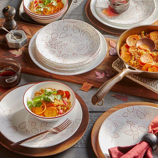 Leaf Stitch 12-piece Dinnerware Set, Service for 4