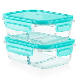 Meal Box 4-piece 2.1 cup Divided Glass Storage Set - side view