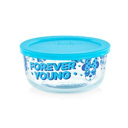 4-cup Decorated Storage: Minnie Mouse - Forever Young with teal lid on storage dish