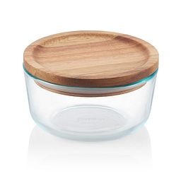Glass Storage 4 Cup Round Dish with Wood Lid