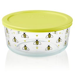 Simply Store Bee Happy 7 cup Storage Dish with Lid On