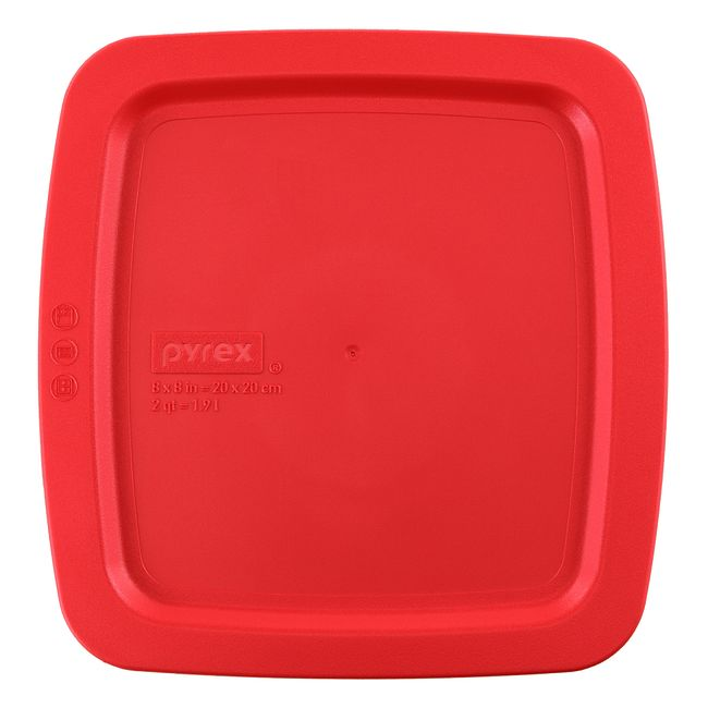 "Easy Grab 8"" x 8"" Square Plastic Lid, Red"