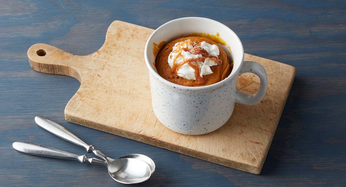 Microwave Salted Caramel Pumpkin Cake