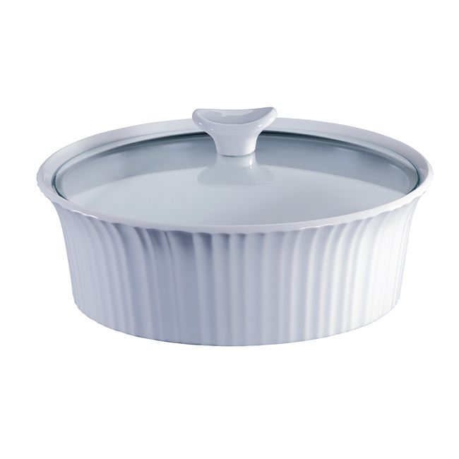 French White 2.5-quart Baking Dish with Lid