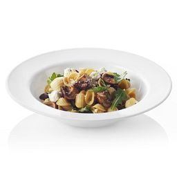 Dazzling white meal bowl showing pasta