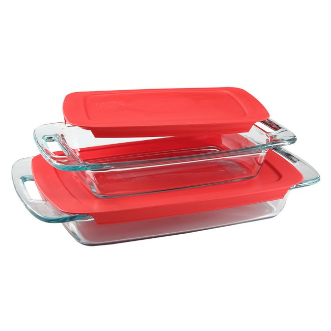 Easy Grab 4-piece Rectangular Glass Bakeware Set with Red Lids
