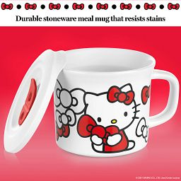 """Hello Kitty 20-oz Meal Mug with Lid propped on the side & text """"durable stoneware meal mug that resists stains"""""""