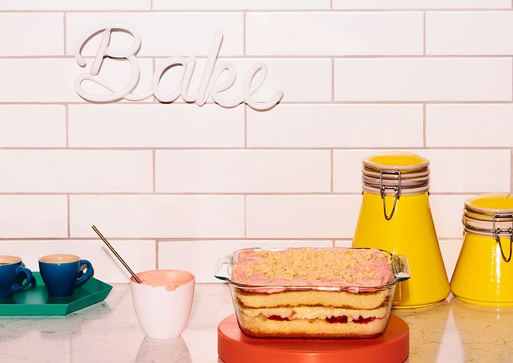 Strawberry Lemon cake made by Christina Tosi in an 8 x 8 Pyrex Deep baking dish