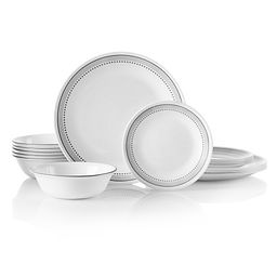 Mystic Gray 18-pc Dinnerware Set Stacked for the Cupboard
