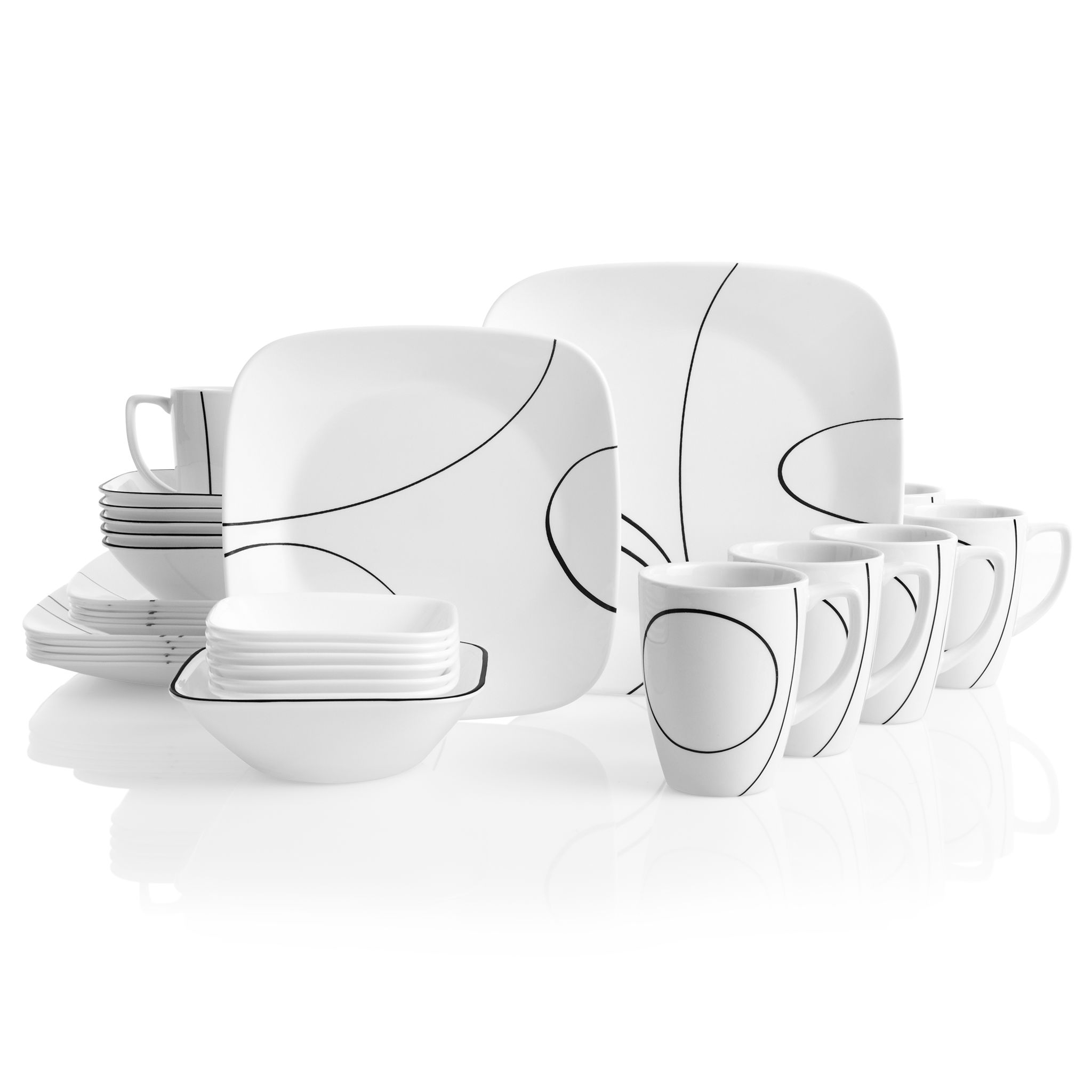 Simple Lines 30-piece Dinnerware Set, Service for 6