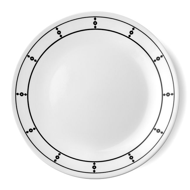 "Livingware Pearls 8.5"" Plate, Black & White"