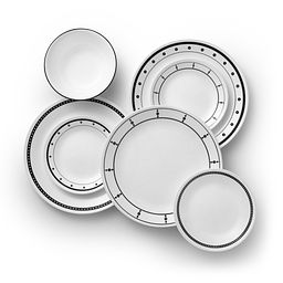 Black & White Mix and Match 18-pc Dinnerware Set Top View