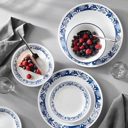 True Blue 16-pc Dinnerware Set on the table with food