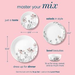 Master your mix text showing sizes of poppy print plates and bowls