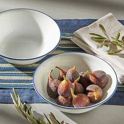 Brilliant Blue Banded 1-quart Serving Bowl Set, 2-pack with food inside