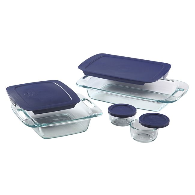 8-piece Glass Bakeware and Storage Container Set with Blue Lids