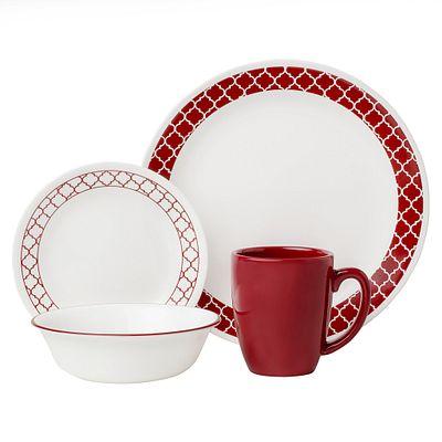 Crimson Trellis 16-piece Dinnerware Set, Service for 4