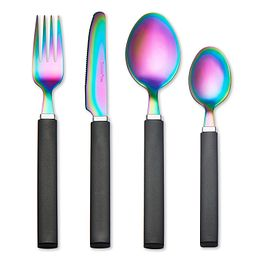 Tomodachi Rainbow Titanium Flatware Set photo of fork, knife, diner spoon & teaspoon