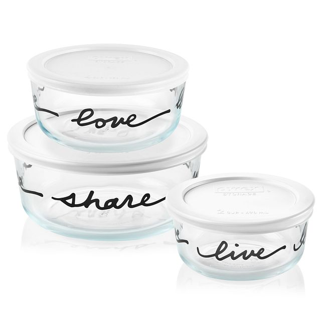 Celebrations 6-Piece Glass Food Storage Container Set with White Lids