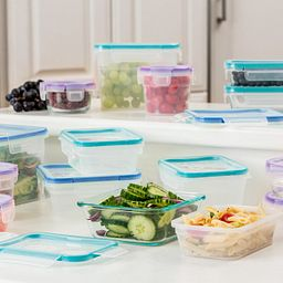 Total Solution Pyrex Glass & Plastic Food Storage 30-pc Round Set with Food Inside