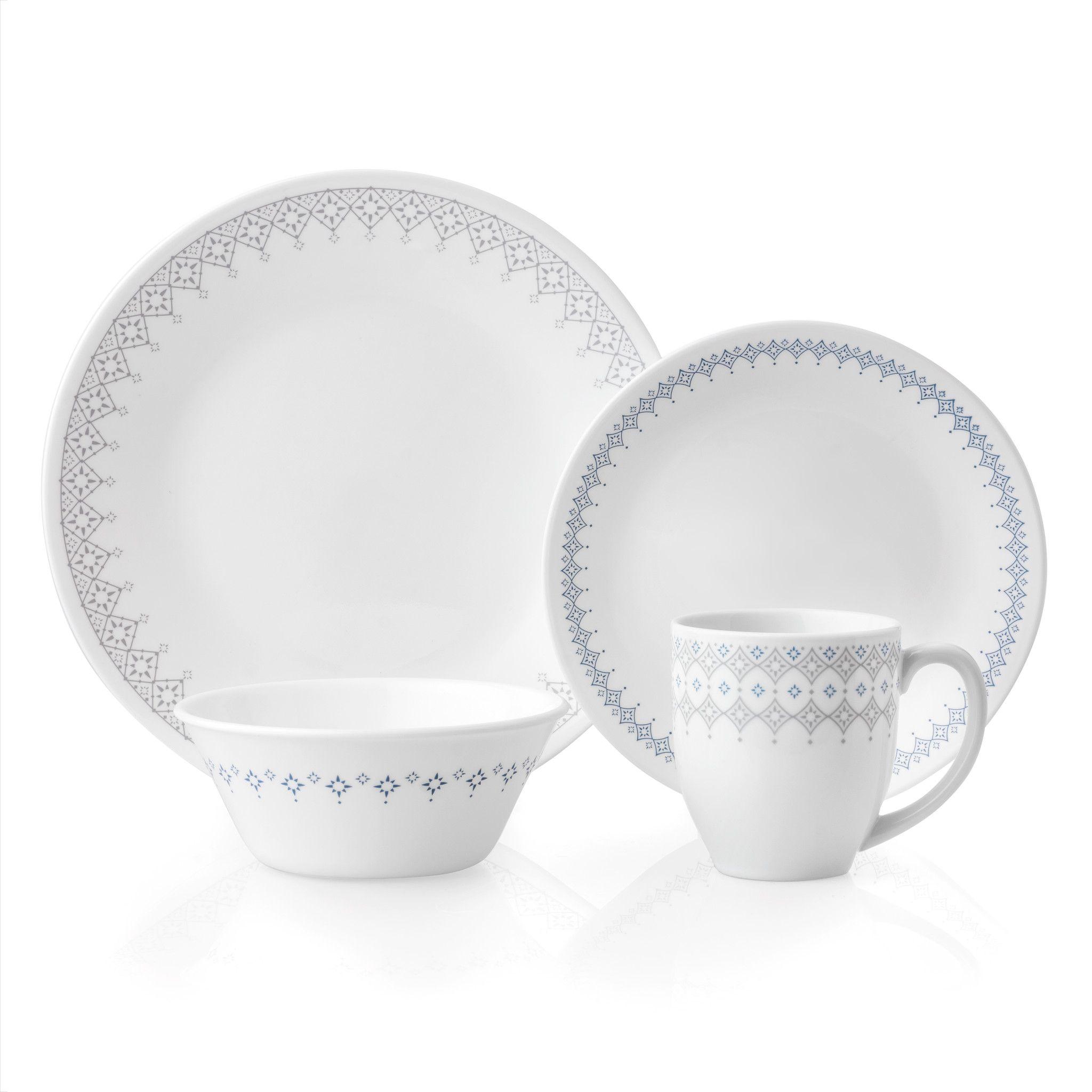 Evening Lattice 16 Piece Dinnerware Set Service For 4