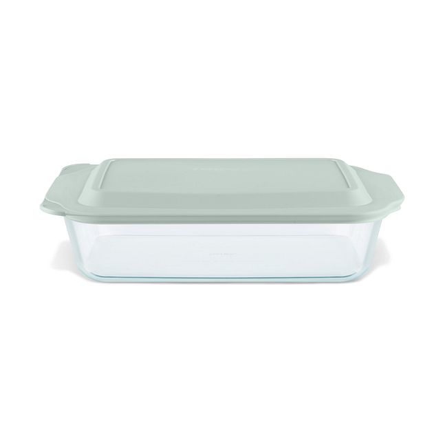"Deep 9 x 13"" Rectangular Glass Baking Dish with Sage Green Lid"