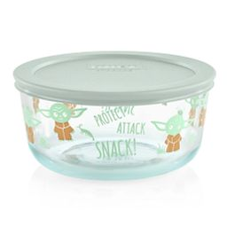 Star Wars The Child 4-cup Glass Storage with Sage Lid, Protect the snacks written on the outside