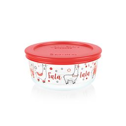 Llama 2-cup Glass Food Storage Container with Red Lid